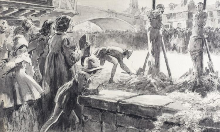 Shinn, Everett Illustration on Paper Burned at Stake