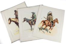 Remington, Frederic Set of Three Chomolithographs