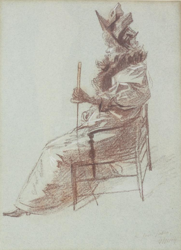 Cheret, Jules French Crayon Drawing on Paper