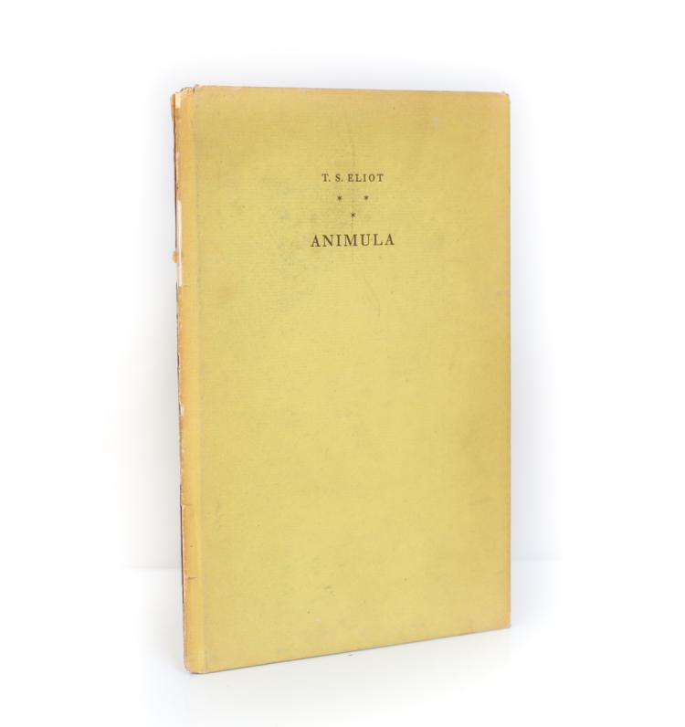 Eliot, T.S. Animula 1st Edition, Signed 1929