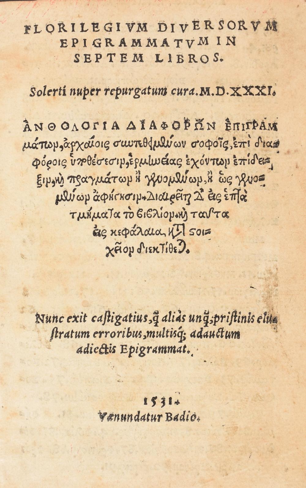 Florilegium diversorum epigrammatum in septem libros. Solerti nuper repurga