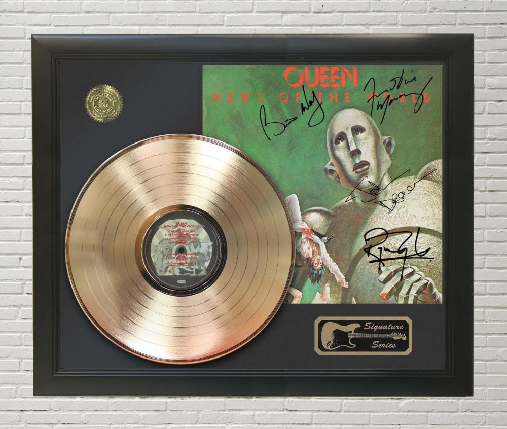 Queen – News of the World Framed Signature Gold LP Record Display