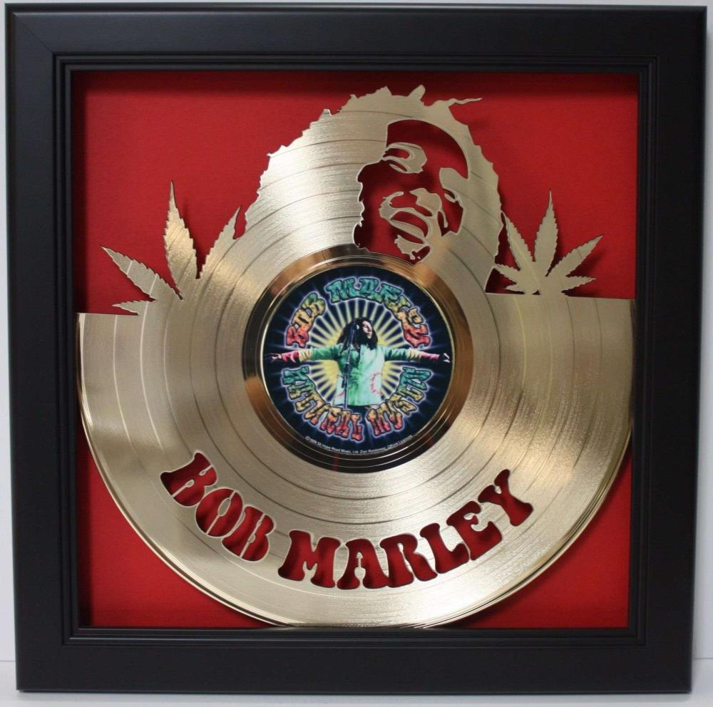 Bob Marley Gold Laser Cut Framed Record