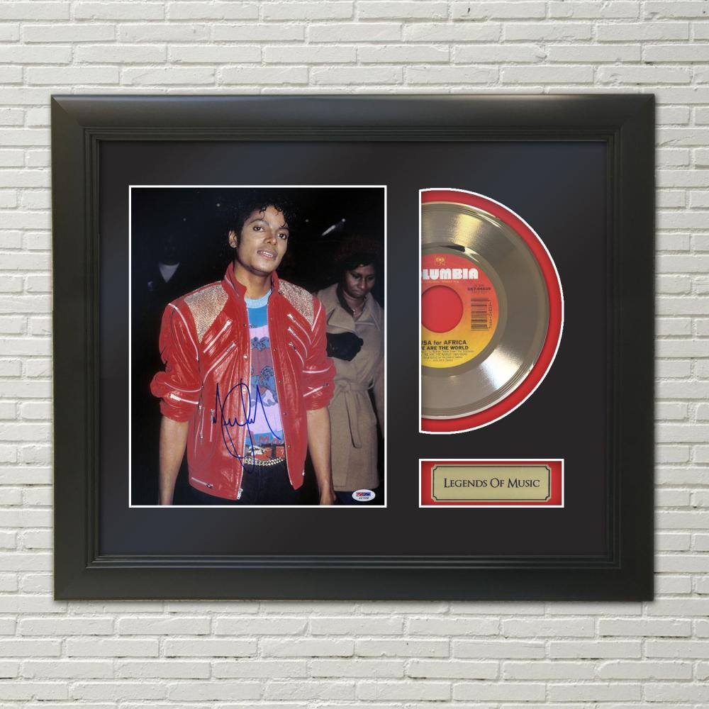 Michael Jackson – We Are The World Reproduction Signature Framed 45 Gold Record Display