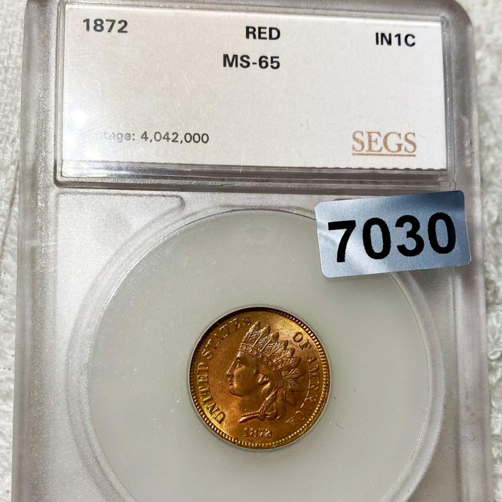 1872 Indian Head Penny SEGS - MS 65 RED
