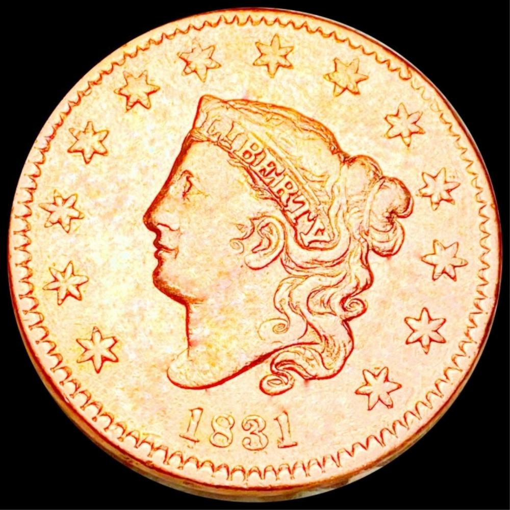 1831 Coronet Head Large Cent ABOUT UNC
