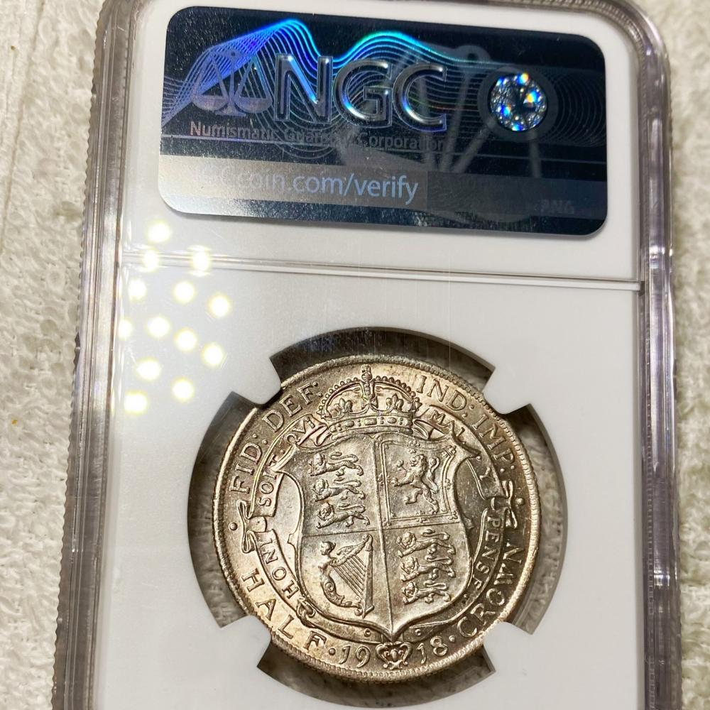 1918 G. Britain Silver Half Crown NGC - AU58