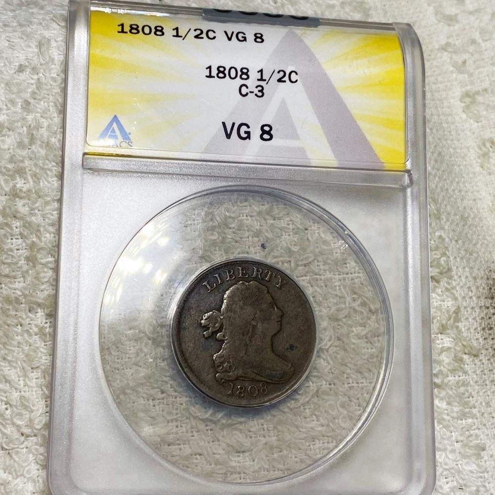 1808 Draped Bust Half Cent ANACS - VG8 C-3