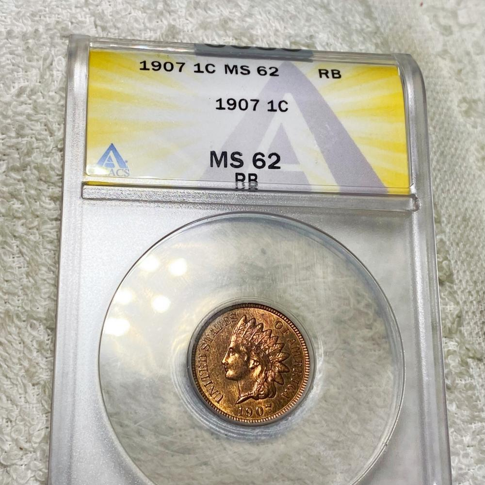 1907 Indian Head Penny ANACS - MS 62 RB