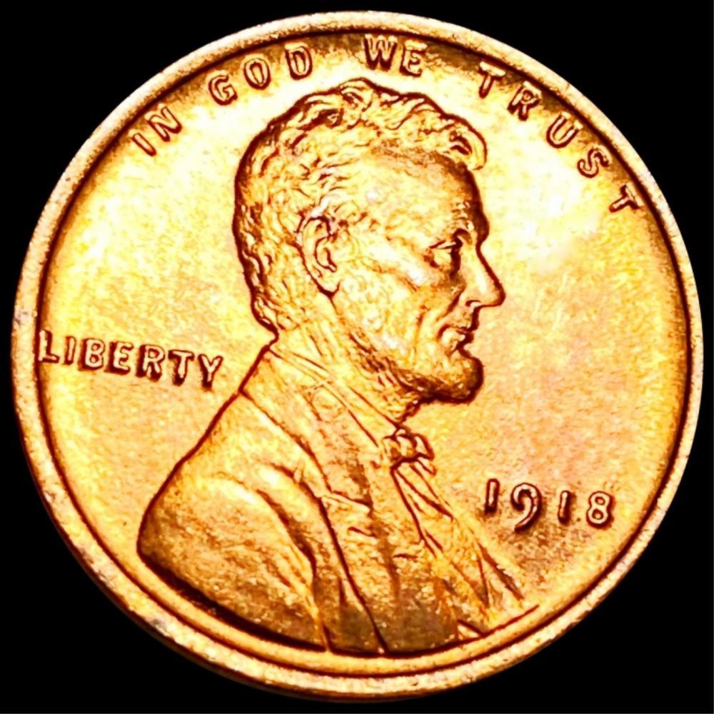 1918 Lincoln Wheat Penny GEM BU RED