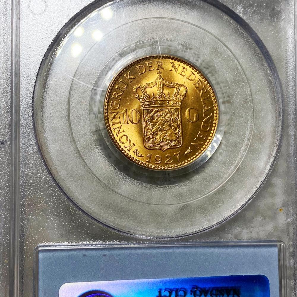 1927 Netherlands Gold 10 Gulden PCGS - MS64