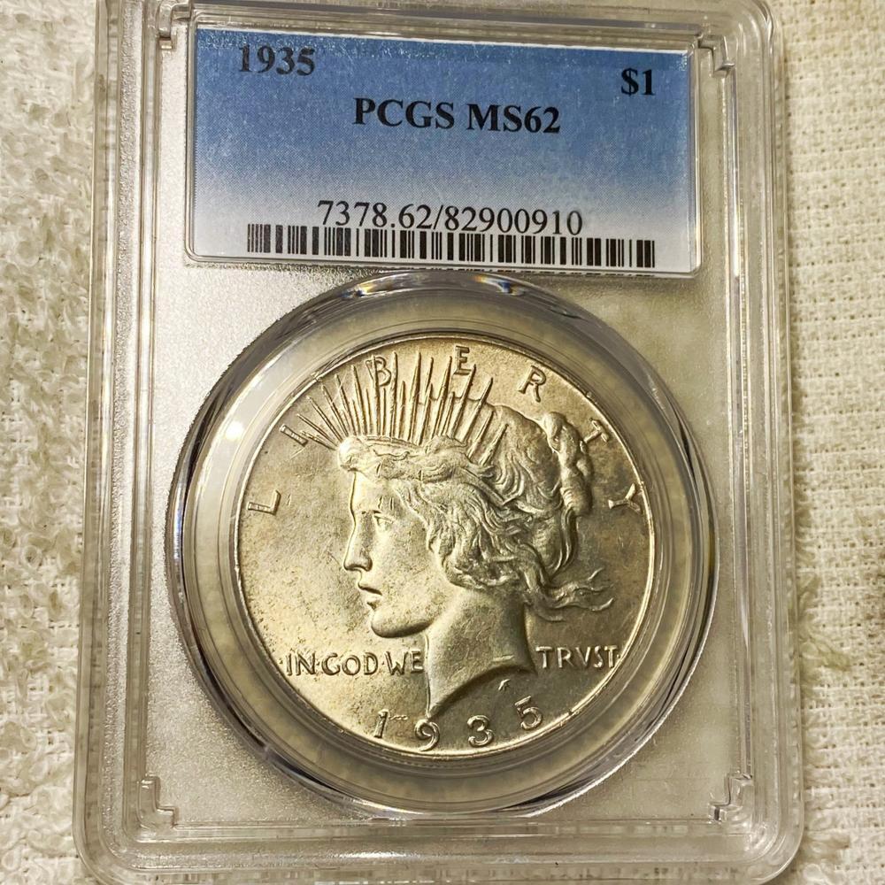 1935 Silver Peace Dollar PCGS - MS62