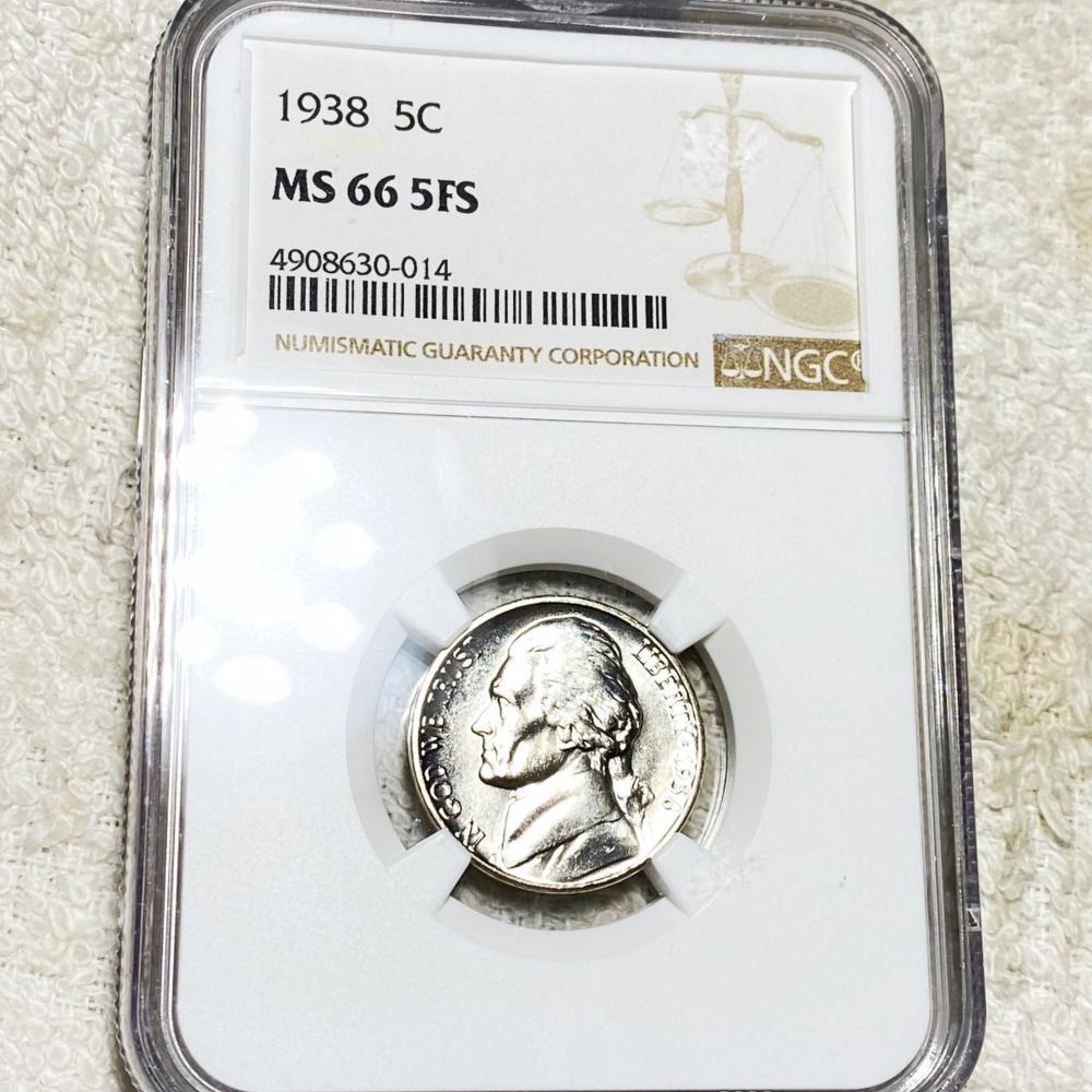 1938 Jefferson Nickel NGC - MS 66 5FS