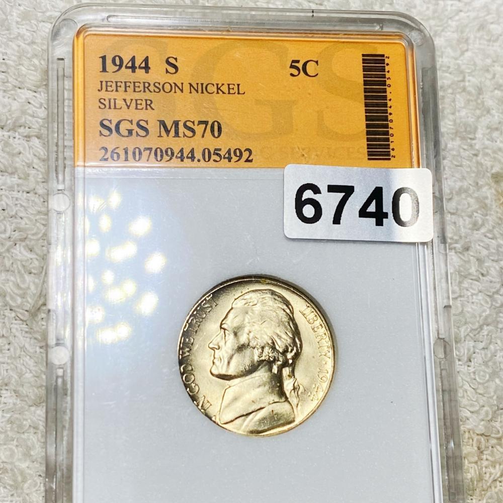1944-S Jefferson War Nickel SGS - MS70