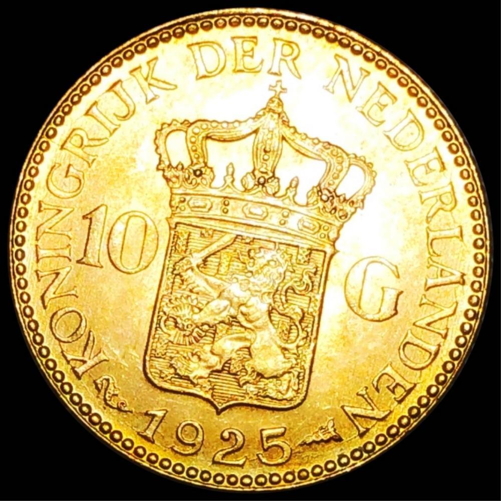 1925 Netherlands Gold 10 Gulden UNCIRCULATED