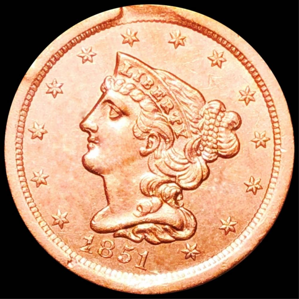 1851 Braided Hair Half Cent UNCIRCULATED RED