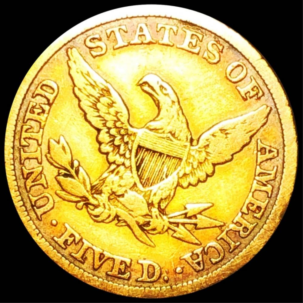 1844 $5 Gold Half Eagle NICELY CIRCULATED