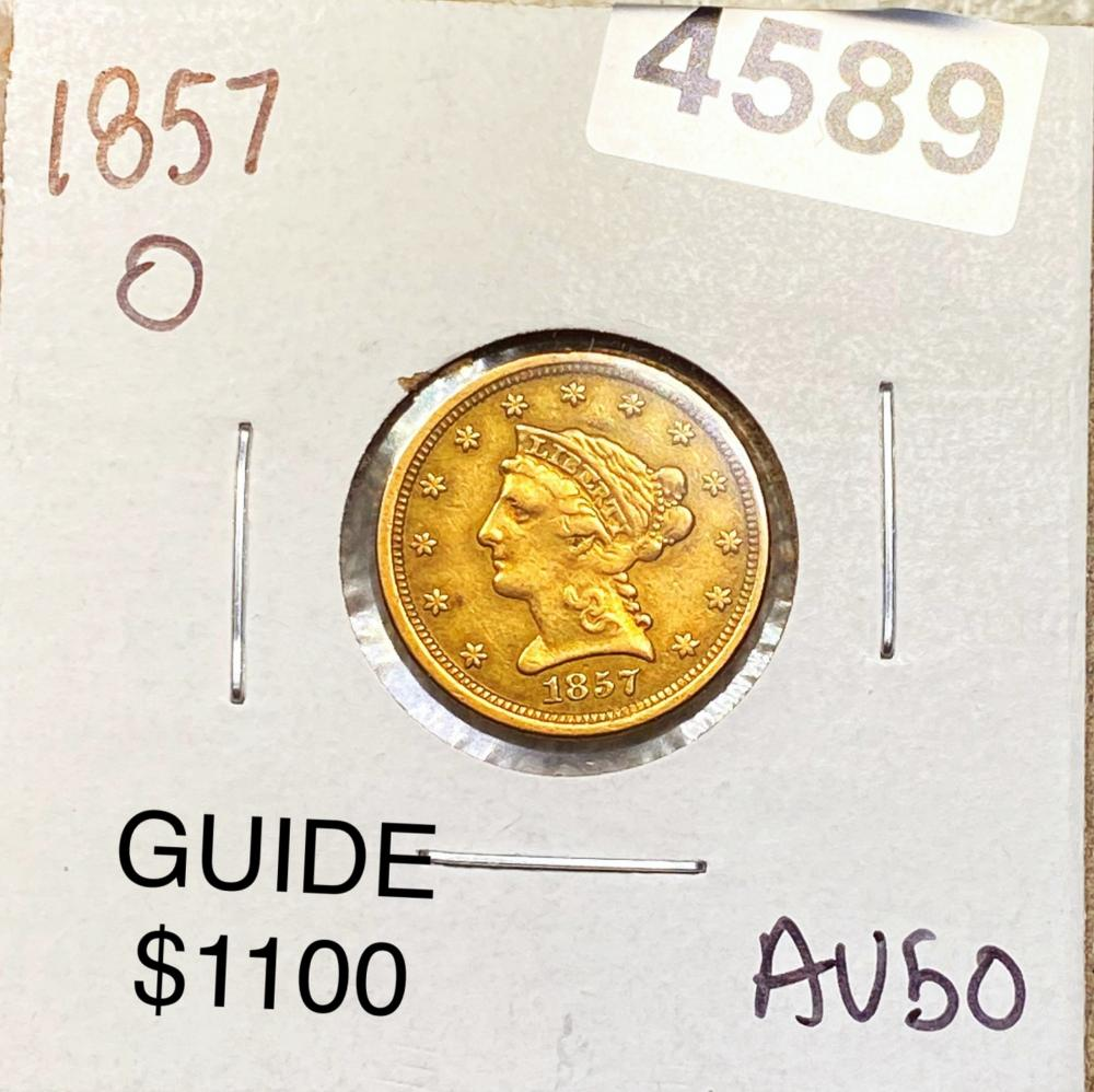 1857-O $2.50 Gold Quarter Eagle ABOUT UNCIRCULATED