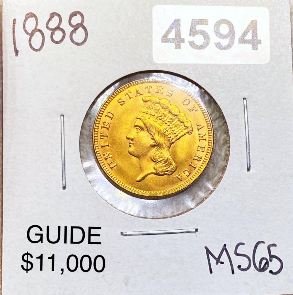 1888 $3 Gold Piece GEM BU
