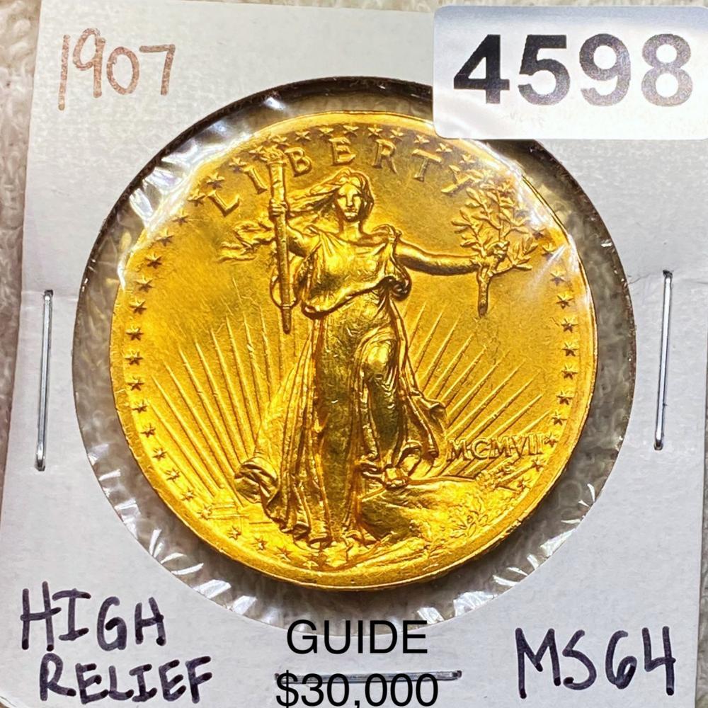 1907 High Relief $20 Gold Double Eagle CHOICE BU
