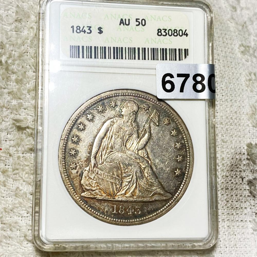 1843 Seated Liberty Dollar ANACS - AU50