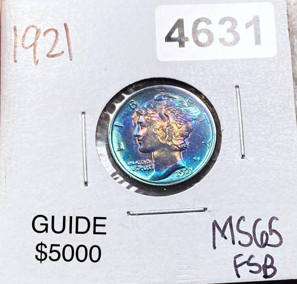 1921 Mercury Silver Dime GEM BU FSB