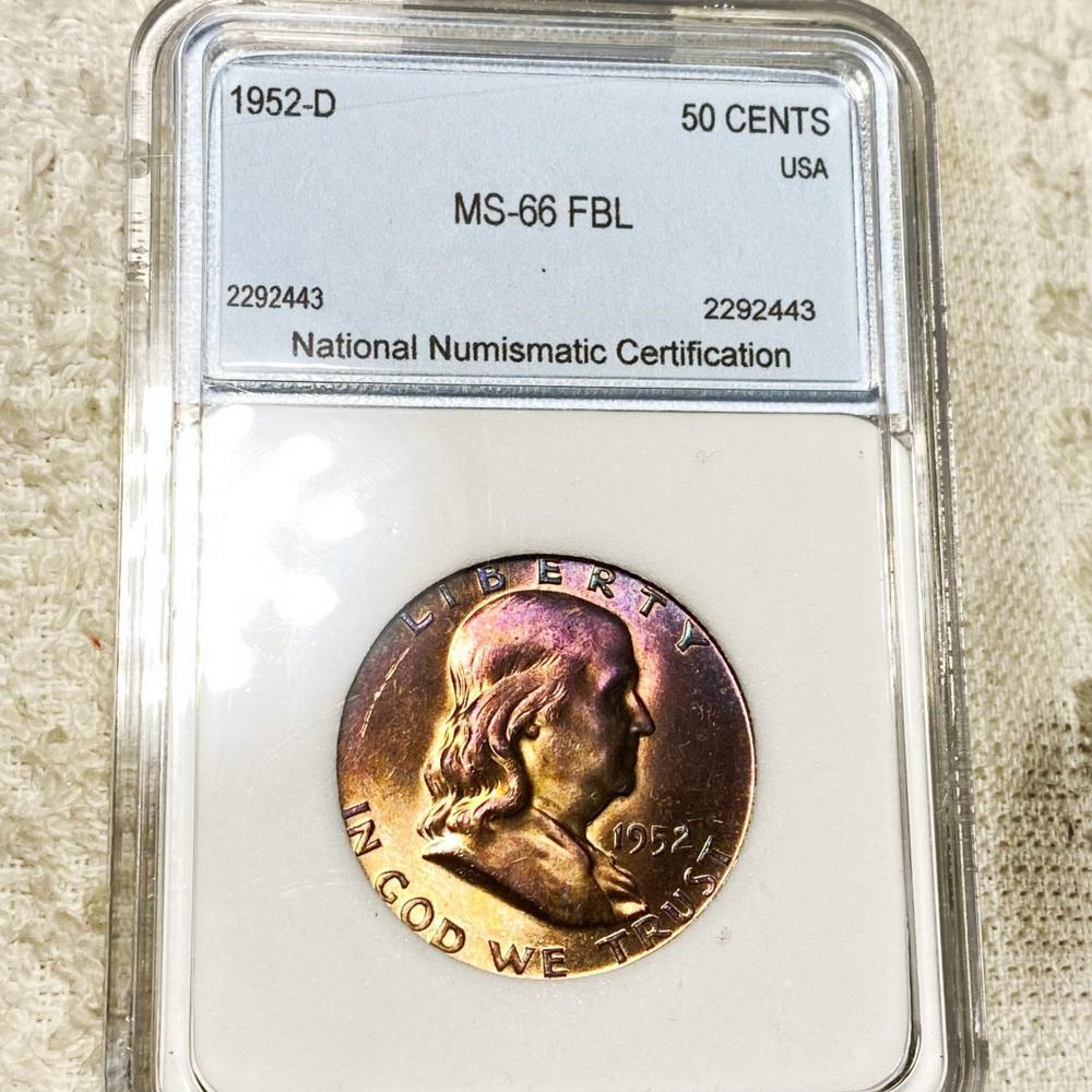 1952-D Franklin Half Dollar NNC - MS 66 FBL