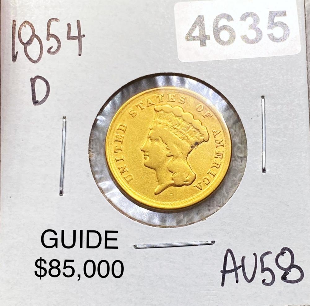 1854-D $3 Gold Piece CHOICE AU
