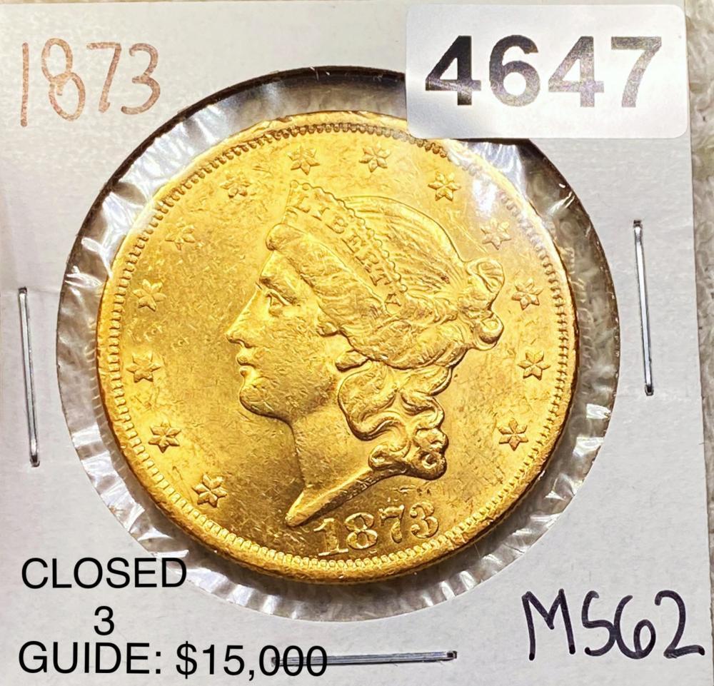1873 $20 Gold Double Eagle UNC CLOSED 3