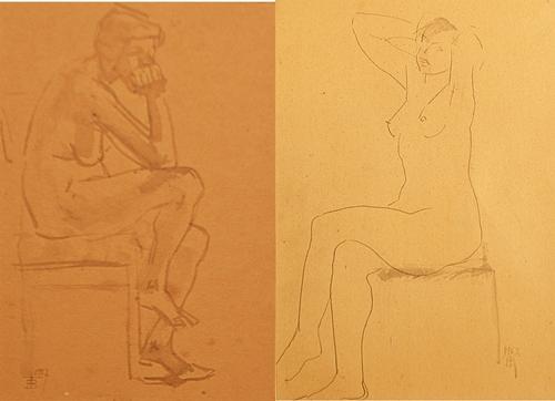 Traian Brădean (1927 - 2013) Două desene/ Two Drawings