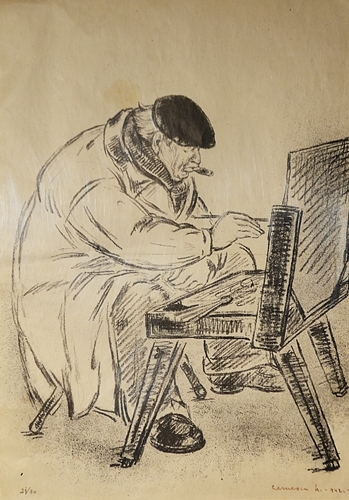 Nicolae Cernescu (1895 - 1979) La peisaj - pictorul J.Al. Steriadi / In plein-air- the painter J. Al. Steriadi