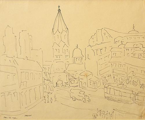 Arnold Daghani (1909 - 1985) Peisaj bucureștean - Bărăția/ Landscape from Bucharest- Baratia Tower
