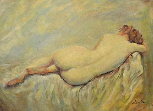 Alexandrescu Milcoveanu Dudu (1908 -) Nud pe draperie albă / Nude on white curtain