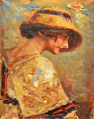 Tiberiu Chelaru (n. 1967) Tânără cu pălărie / Young woman with hat