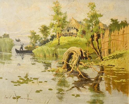 Ionel Iacobescu (1903 - 1968) Pescar în deltă / Fisherman in the delta