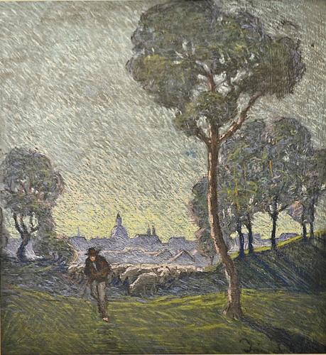 Iranyi Iritz Sandor (1890 - 1970) Păstor cu turma / Sheperd with herd