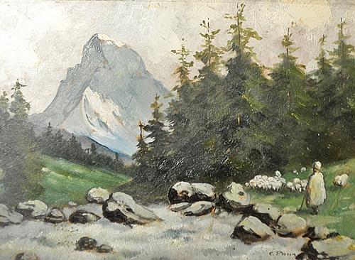 Constantin Paun - Ciobanaș cu turma de oi / Sheperd with sheep