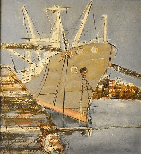 Dragos Vițelaru (1951 - 2009) Iarna în port / Winter in the harbour