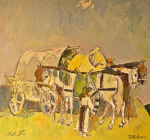 Traian Brădean (1927-2013) Moți cu ciubere/ Peasant with buckets