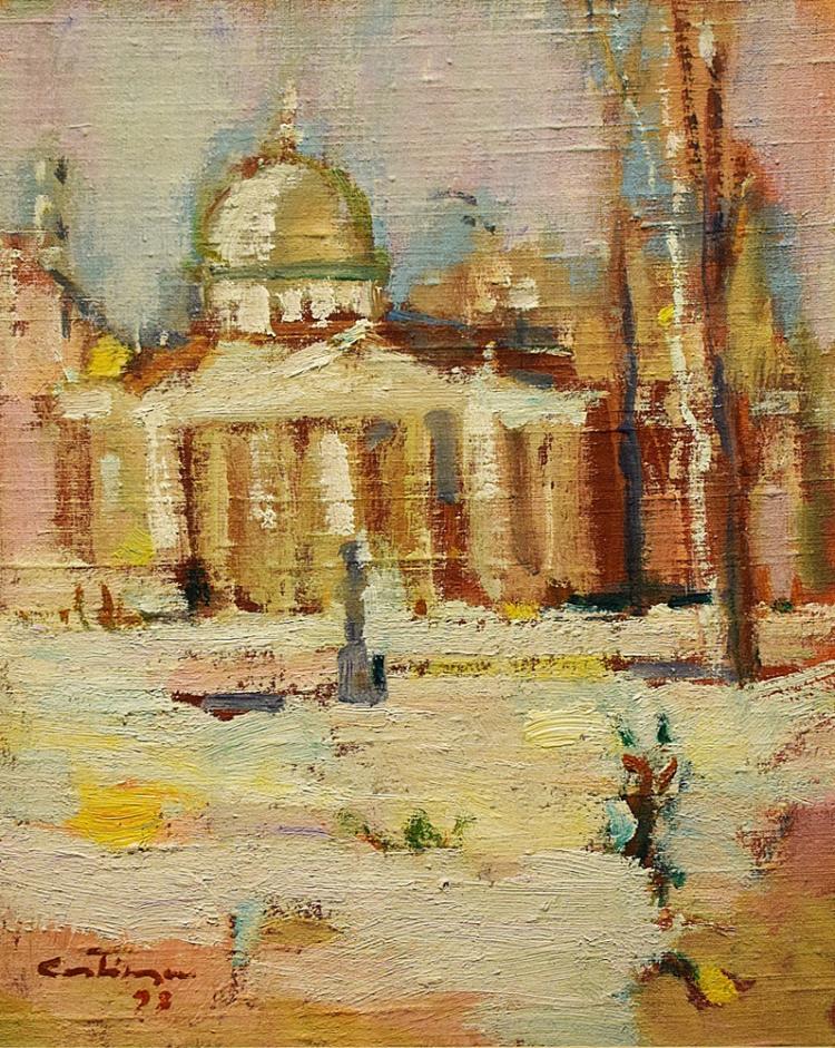 Augustin Costinescu (1934- ) - Iarna la Atheneu / Winter at the Atheneum
