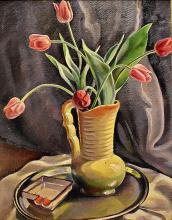 Carol Hubner (1902-1981) - Vas cu lalele / Vase with tulips