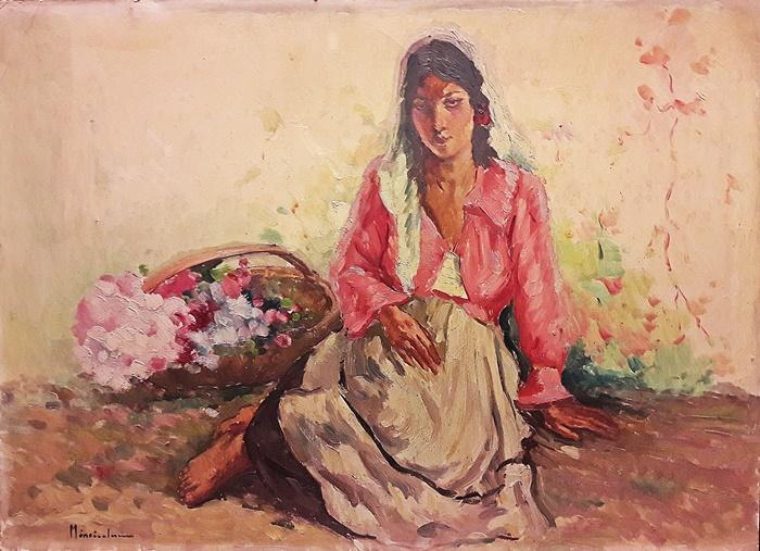 Mănciulescu Apostol (1887-1962)  - Florăreasa cu bluză roz / The flower girl in pink blouse