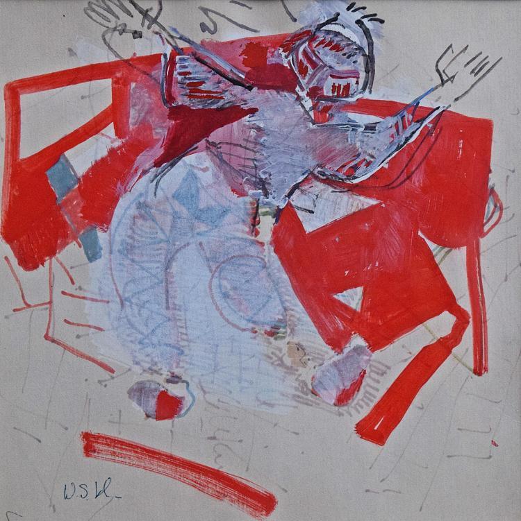 Wanda Sachelarie Vladimirescu (1916-2008) Personaj pe fond roșu/ Character on a red background