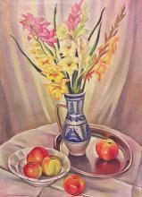 Carol Hubner (1902-1981) Ulcică cu gladiole/ Pot with gladiolus