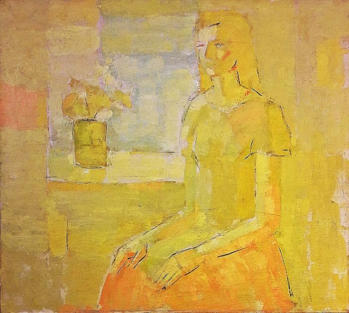 Bogdan Pietriș (1945 - 2006) Portret - Tânără la fereastra / Portrait of a young woman at the window