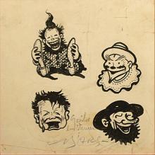 B`Arg (Ion Barbulescu) (1887 - 1969) - Patru vignete cu arlechini ?i ma?ti / Four vignettes with harlequins and masks