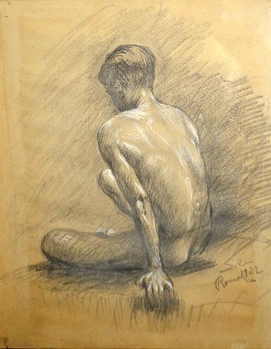 ANGHEL VASILE ( 1895-1947 ) Nud de barbat-stiudiu - Nude Man - study