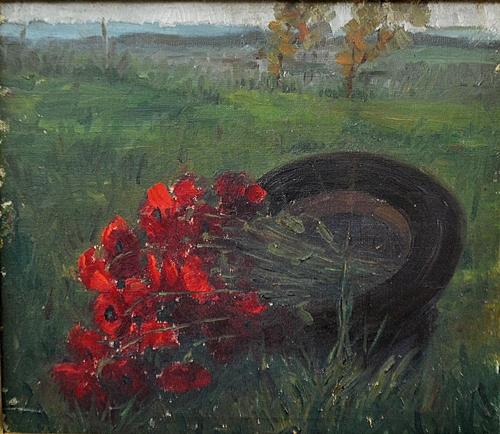 ANGHEL VASILE ( 1895-1947 ) Peisaj cu pãlãrie și flori - Landscape with flowers and hat