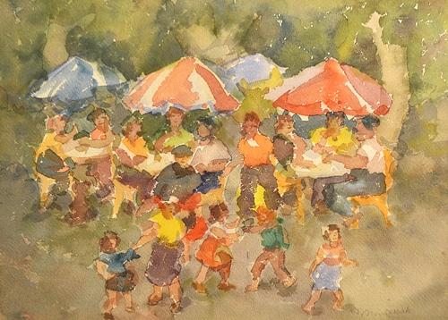 MURARIU ION ( 1922-2012 ) Duminicã în parc / Sunday in the park