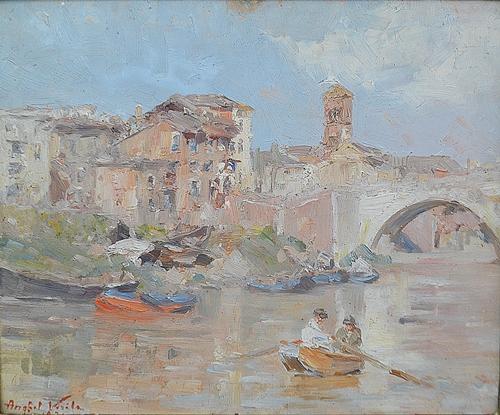 ANGHEL VASILE ( 1895-1947 ) Bacargii pe Tibru (Roma) / Boatmen on Tiber (Rome)